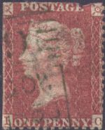1856 1d Red SG29uc Plate 35 'IC' Green Cancel